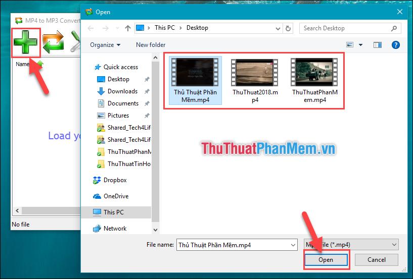 Ấn vào dấu (+) để thêm Video mình muốn Converter sau đó chọn Open