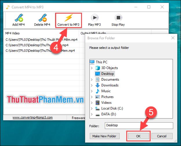 Chọn Convert to MP3 - Tùy chọn thư mục lưu file MP3