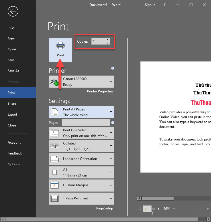 Chọn Print All Pages để in toàn bộ các trang giấy trong tài liệu