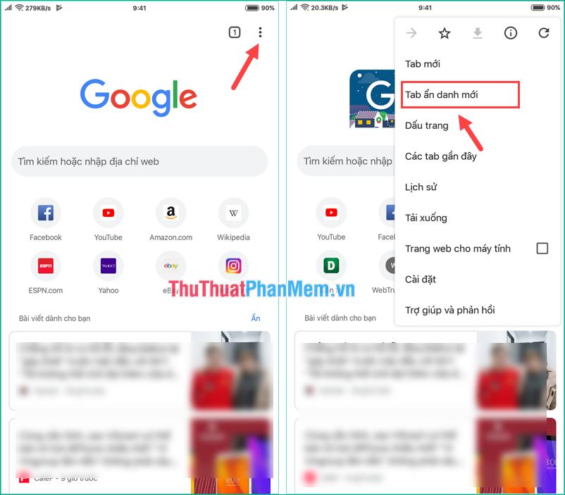 Mở tab ẩn danh trên trình duyệt Chrome