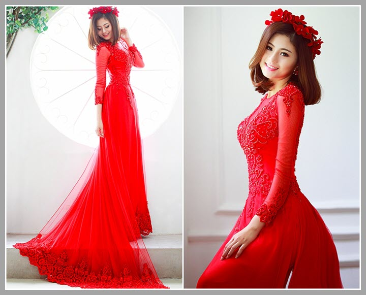 Áo dài cưới màu đỏ cách tân cực đẹp