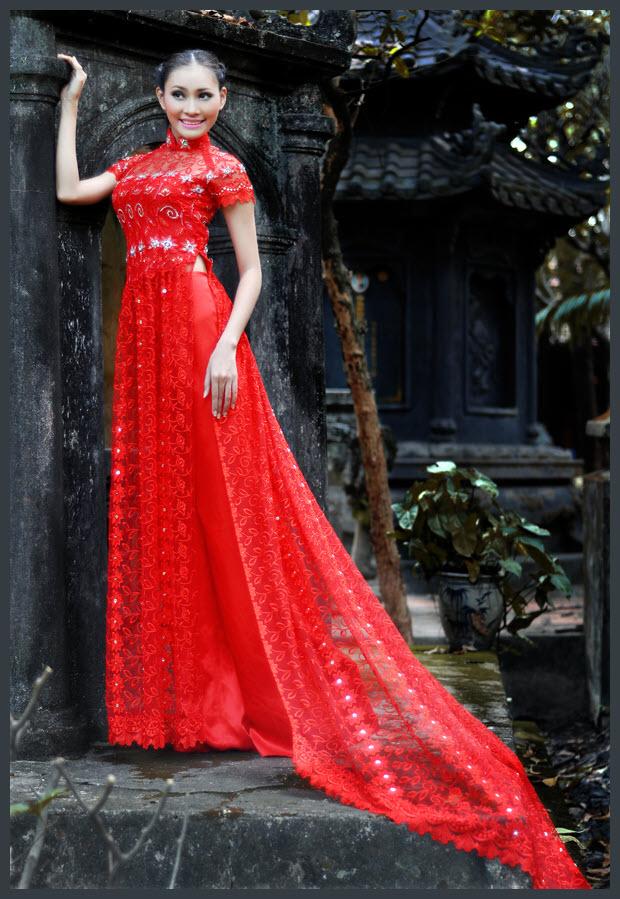 Áo dài cưới màu đỏ đẹp
