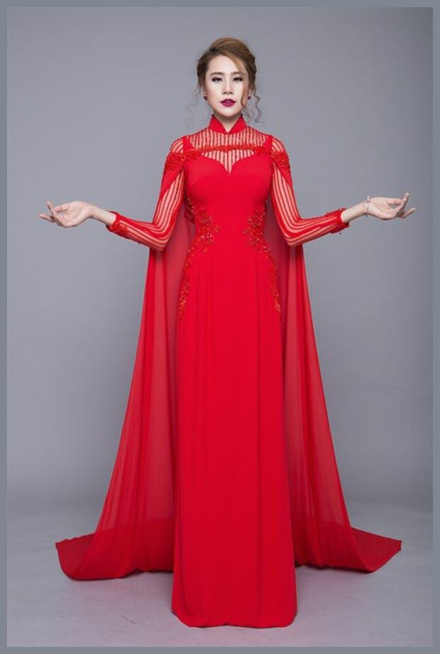 Áo dài cưới màu đỏ hiện đại