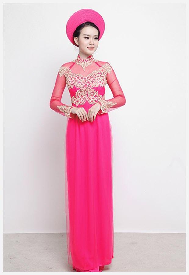 Áo dài cưới màu hồng đẹp