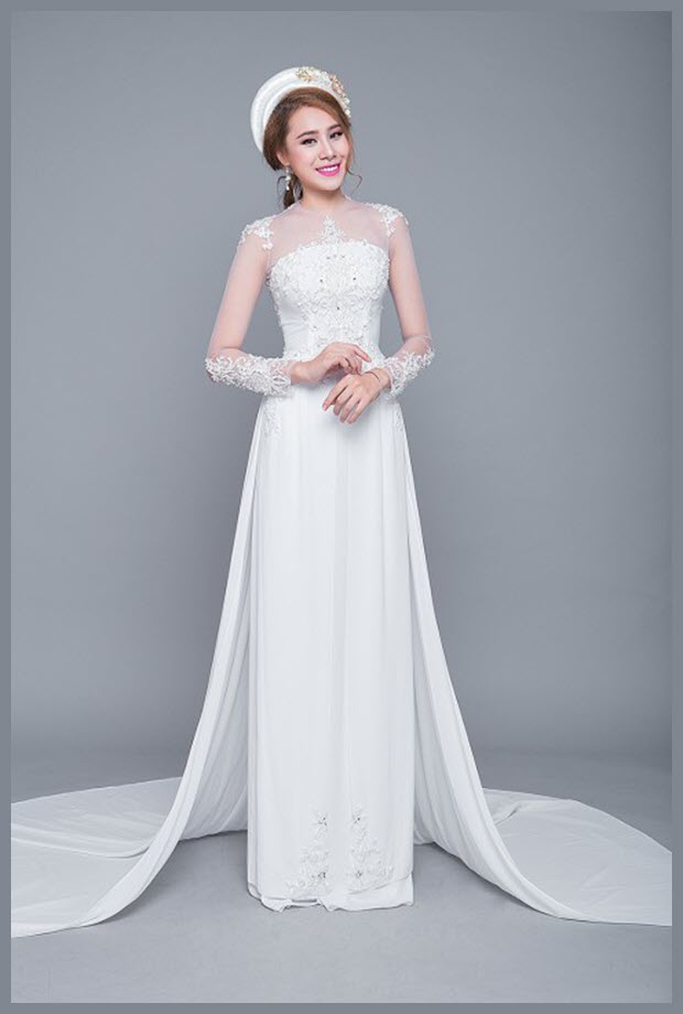 Áo dài cưới màu trắng trang nhã