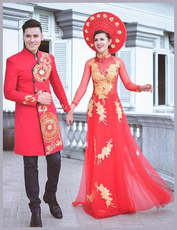 Áo dài và khăn đóng cho cô dâu xinh đẹp