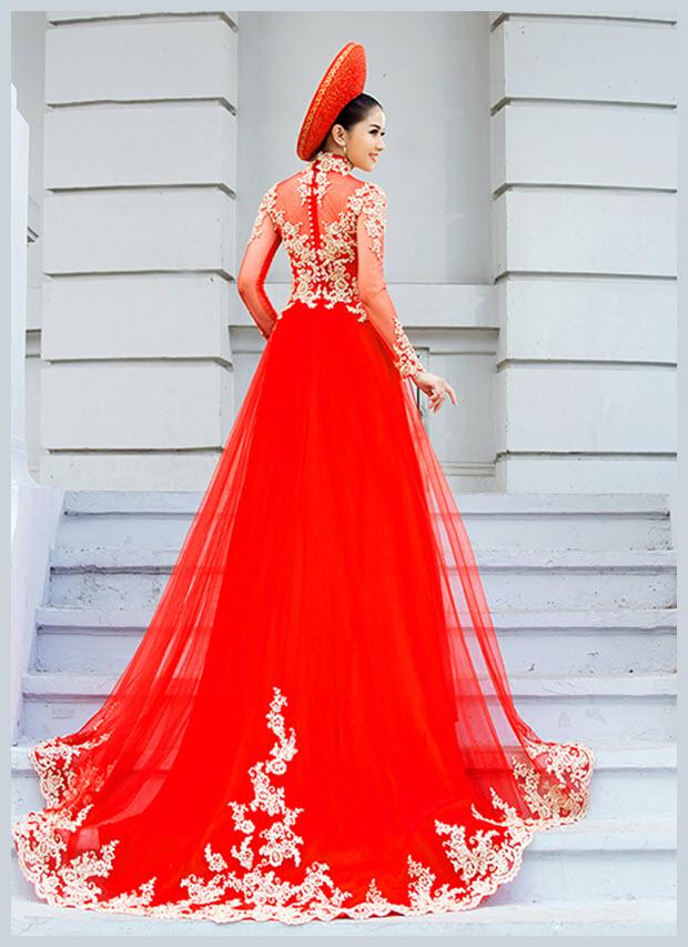 Hình ảnh mẫu áo dài cưới