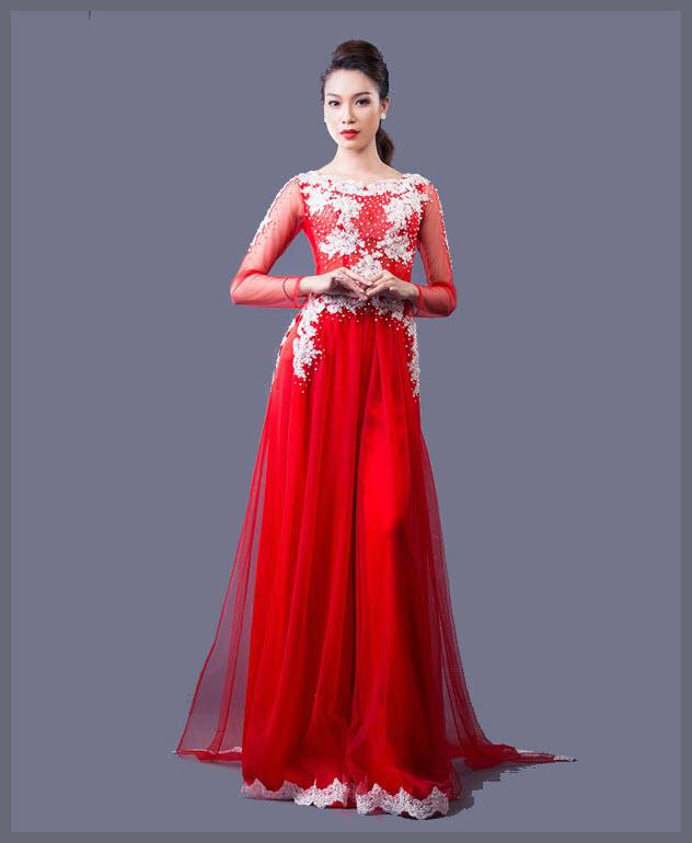 Hình áo dài cưới đỏ đẹp