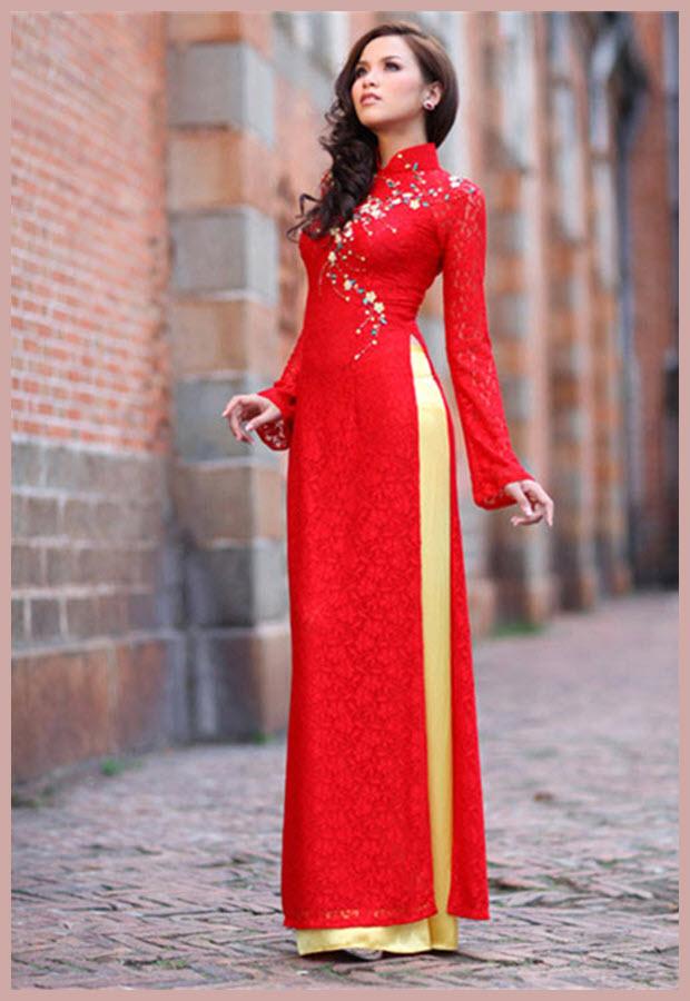 Hình mẫu áo dài cưới đẹp cho cô dâu