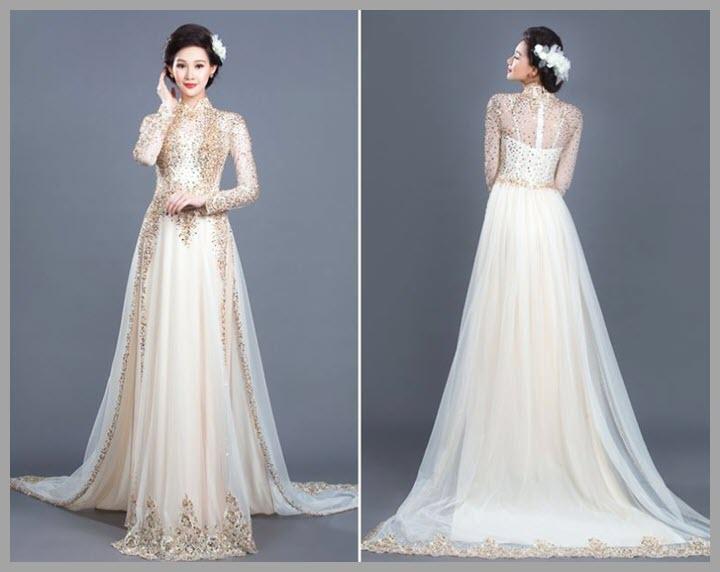 Hình mẫu áo dài cưới đẹp
