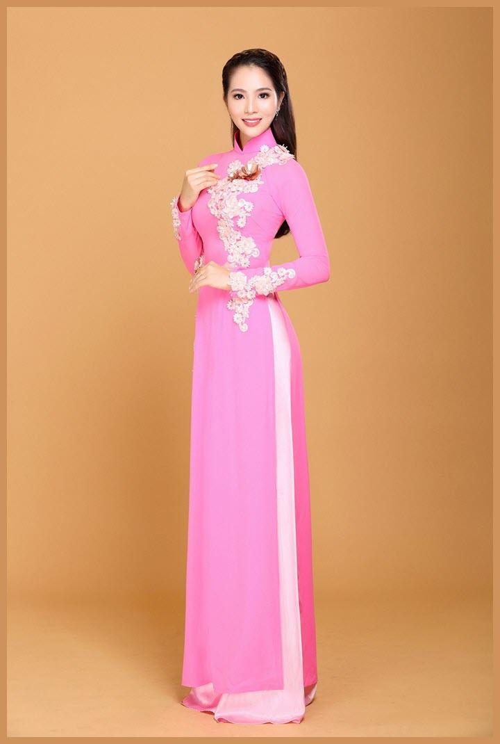 Hình mẫu áo dài cưới màu hồng sen