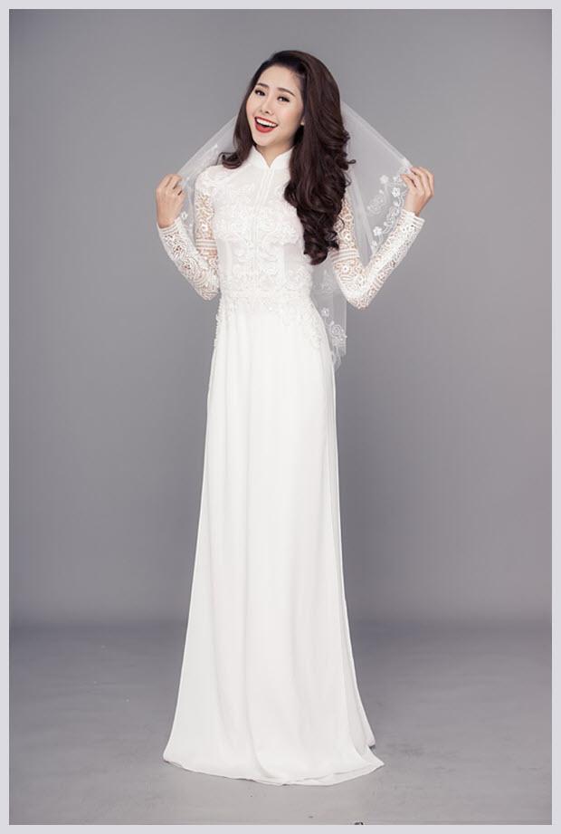 Hình mẫu áo dài cưới
