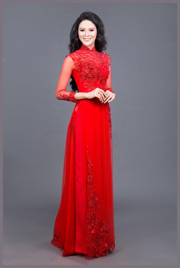 Hình mẫu áo dài đỏ của cô dâu ngày cưới