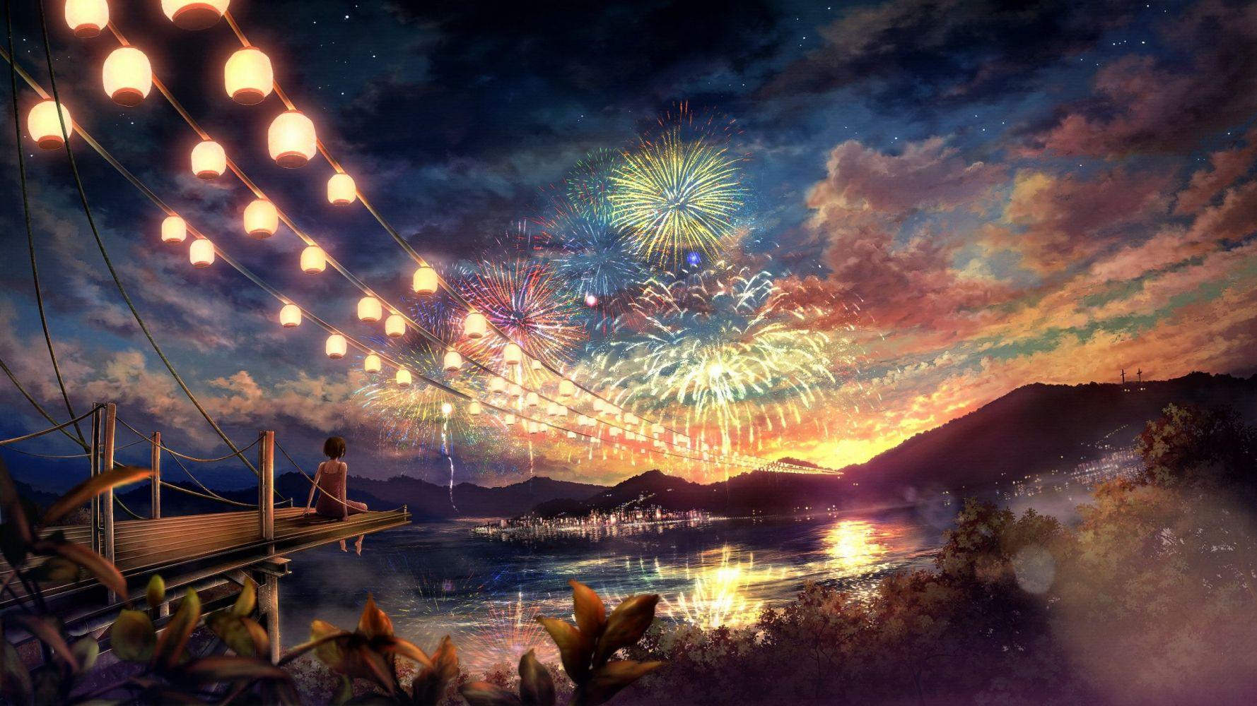 Hình nền anime lễ hội pháo hoa