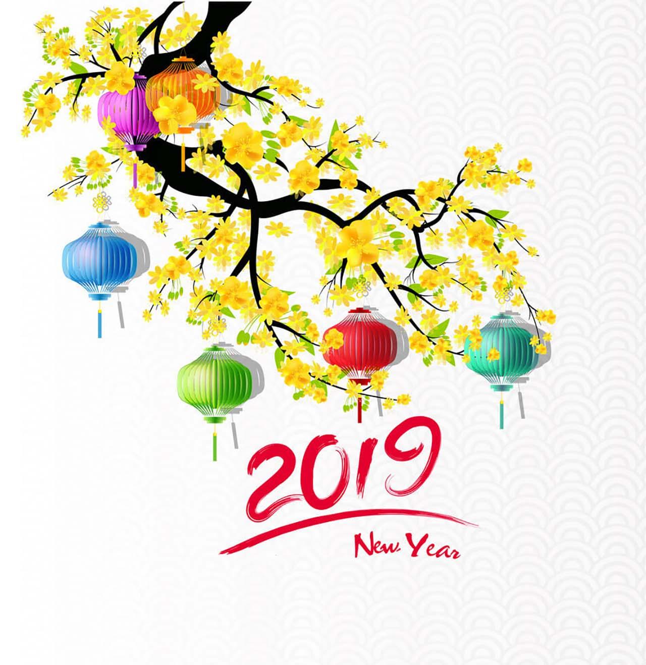Hình nền chúc mừng năm mới 2019 cho máy tính