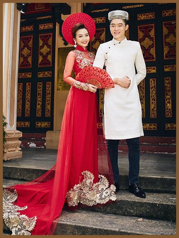 Mẫu áo dài cưới cho cô dâu và chú rể