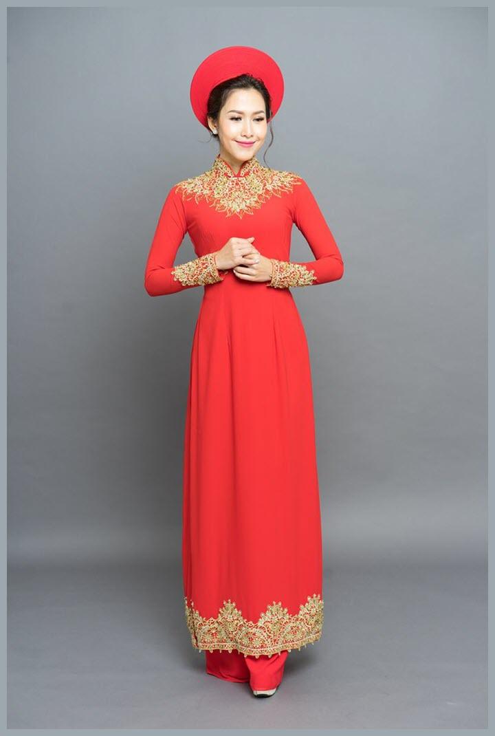 Mẫu áo dài cưới đẹp đơn giản