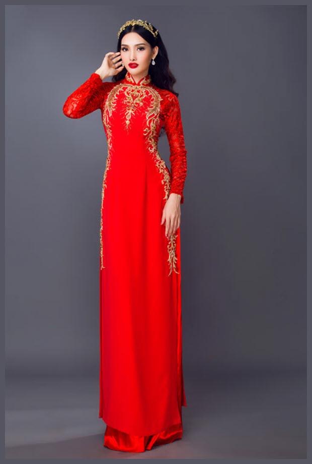Mẫu áo dài cưới đỏ đẹp