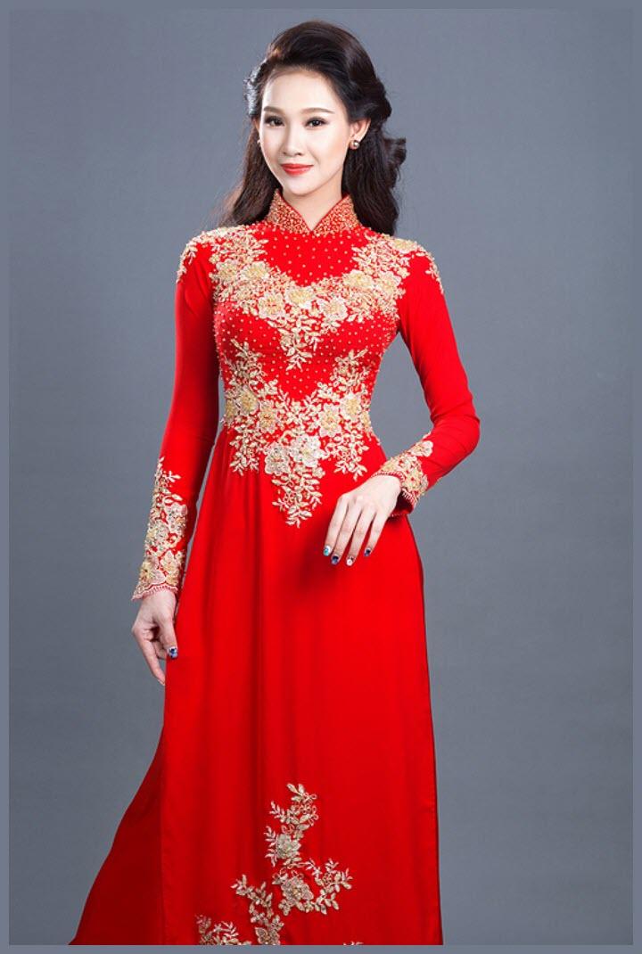 Mẫu áo dài cưới đỏ sang trọng
