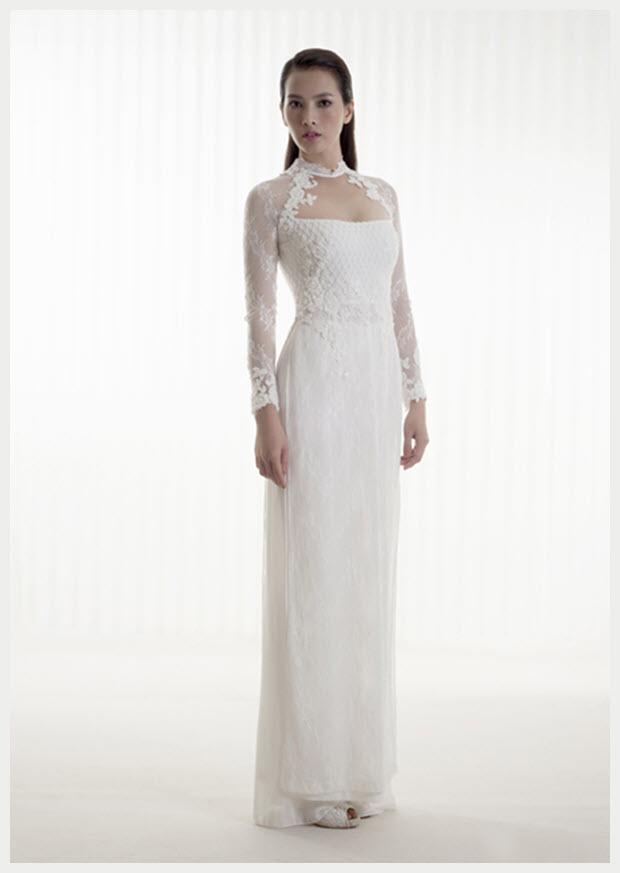 Mẫu áo dài cưới mà trắng cách tân đẹp