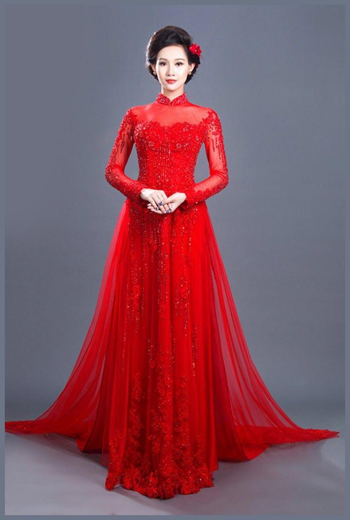 Mẫu áo dài cưới màu đỏ đẹp