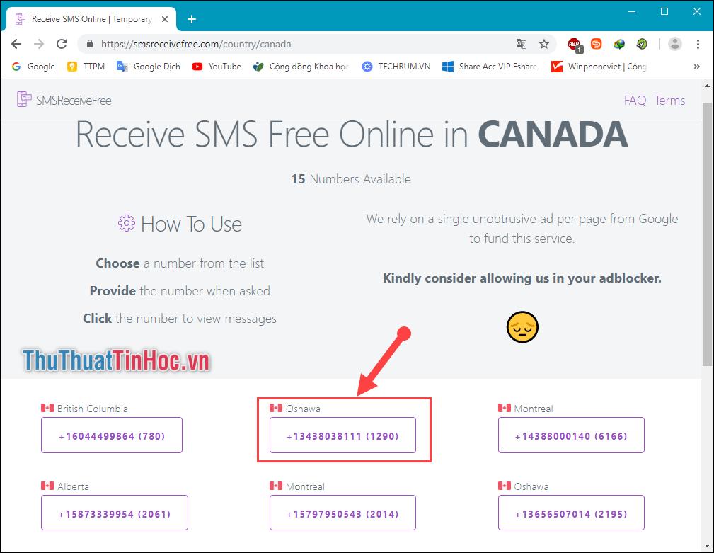 Chọn lấy một số điện thoại để đăng kí dịch vụ Online