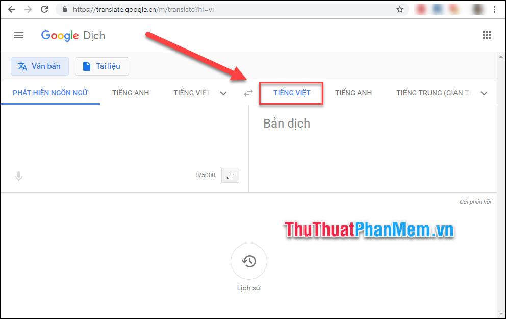 Chọn thẻ ngôn ngữ đầu ra là Tiếng Việt