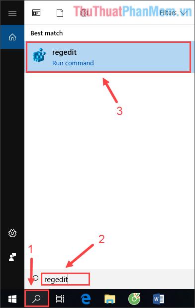 Click vào công cụ Search ở thanh Taskbar, gõ regedit