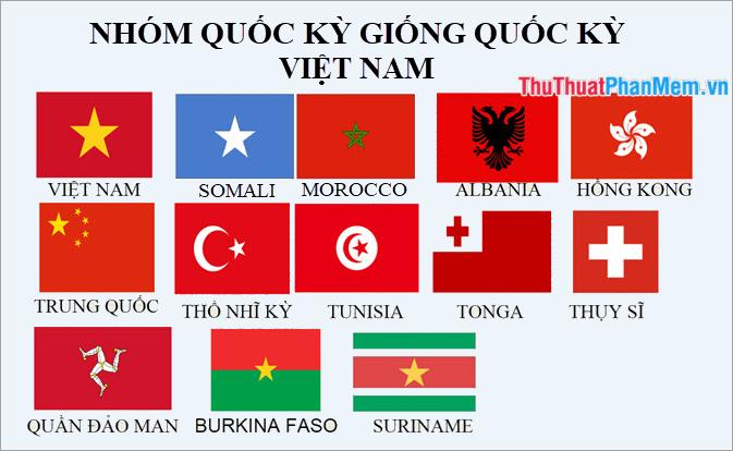 Nhóm các lá cờ giống với lá cờ Việt Nam