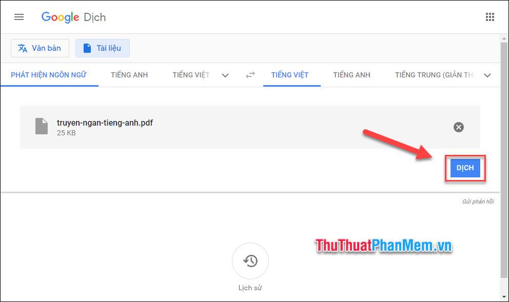 Sau khi file được tải lên, nhấn Dịch