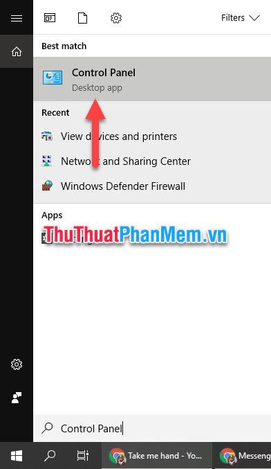 Sử dụng trình tìm kiếm của Windows để tìm Control Panel