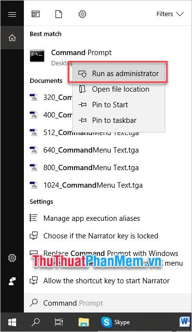 Click chuột phải vào Command Prompt, chọn Run as administrator
