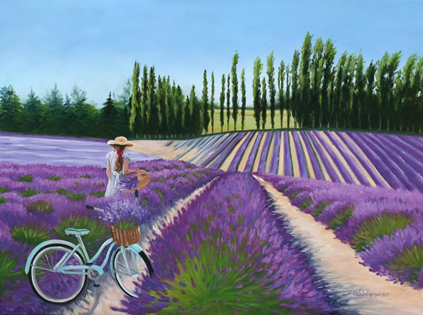 Tranh vẽ cánh đồng Hoa Lavender