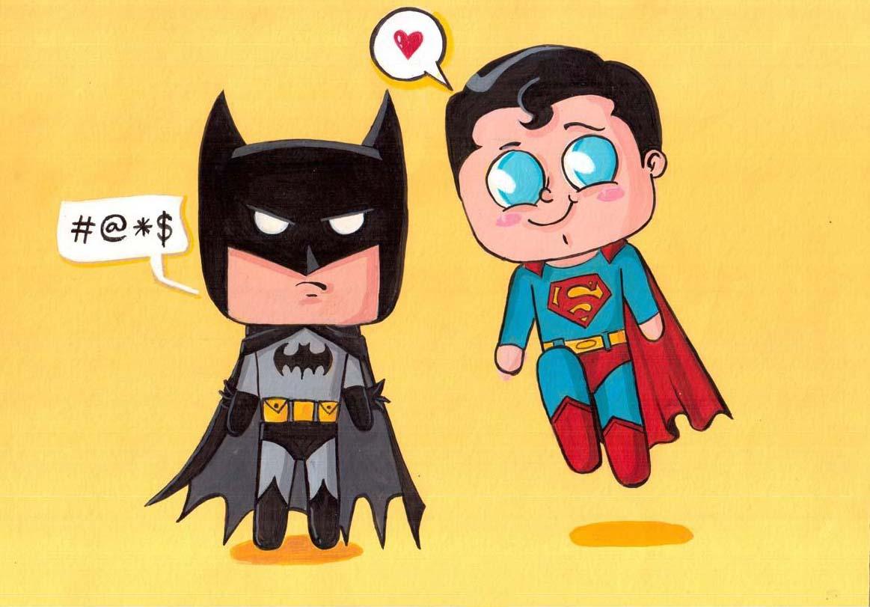 Hình ảnh superman chibi đáng yêu với batman