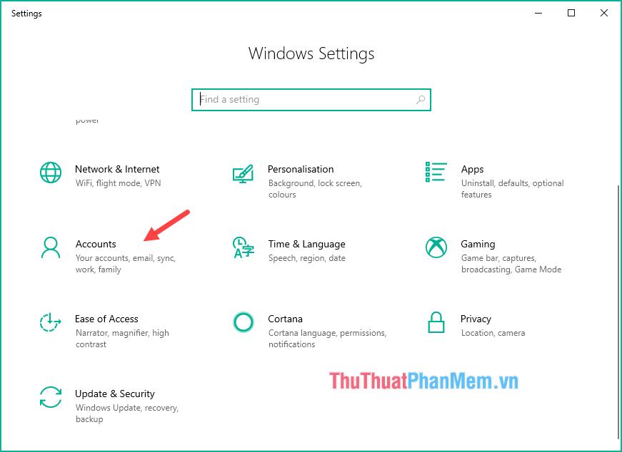 Mở Setting trên Windows 10 và chọn mục Accounts