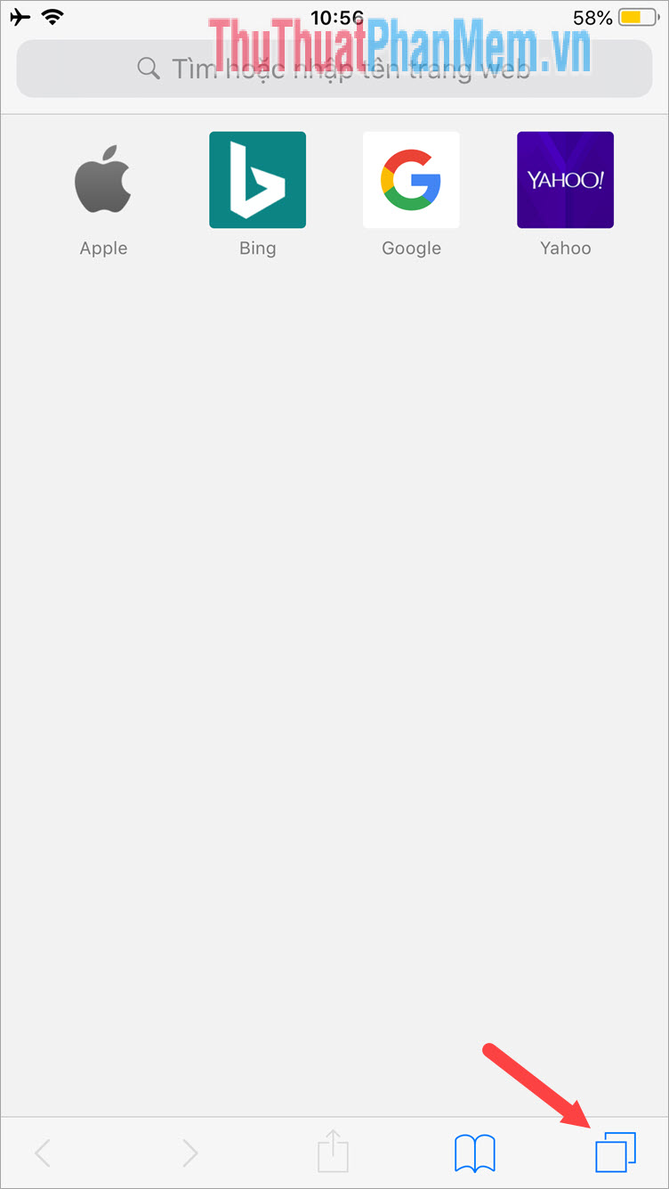 Mở trình duyệt Safari lên và bấm vào biểu tượng New Tab