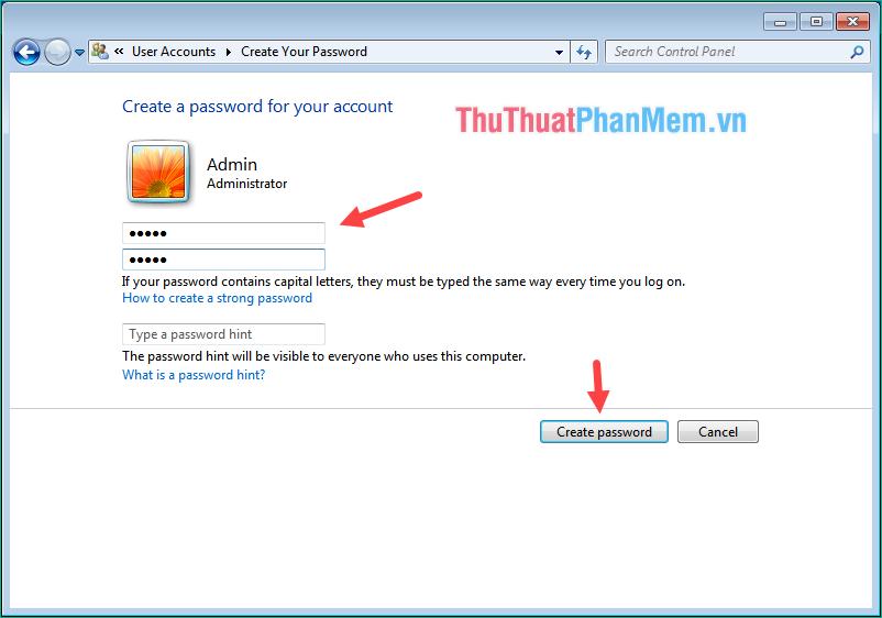Nhập mật khẩu 2 lần vào 2 ô trống sau đó nhấn Create password