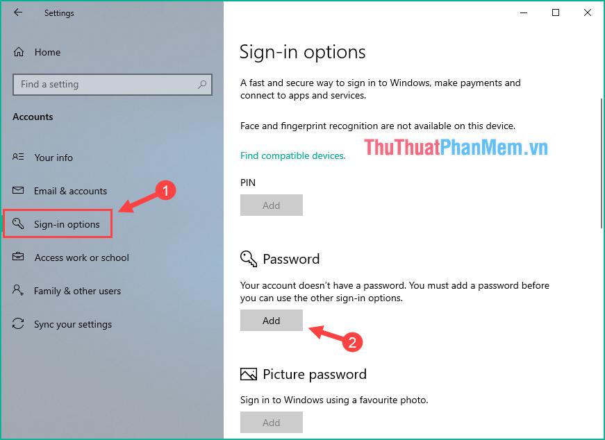 Ở mục Password chọn Add để thêm mật khẩu