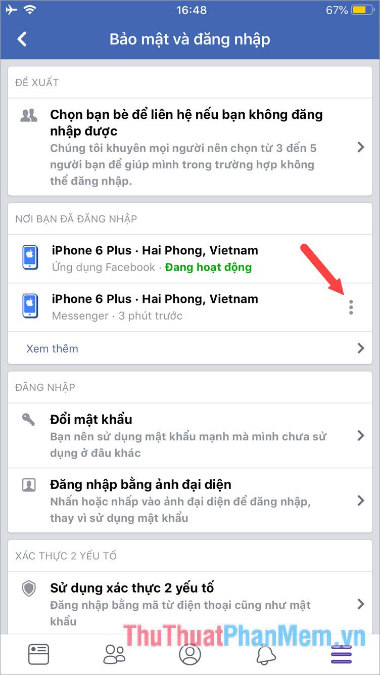 Tìm tên thiết bị đã đăng nhập Facebook Messenger rồi bấm vào dấu 3 chấm