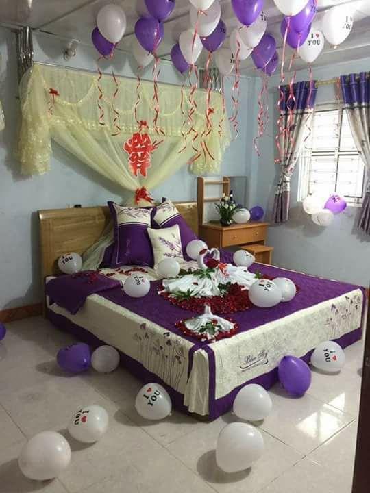 Mẫu trang trí phòng cưới màu tím lãng mạn