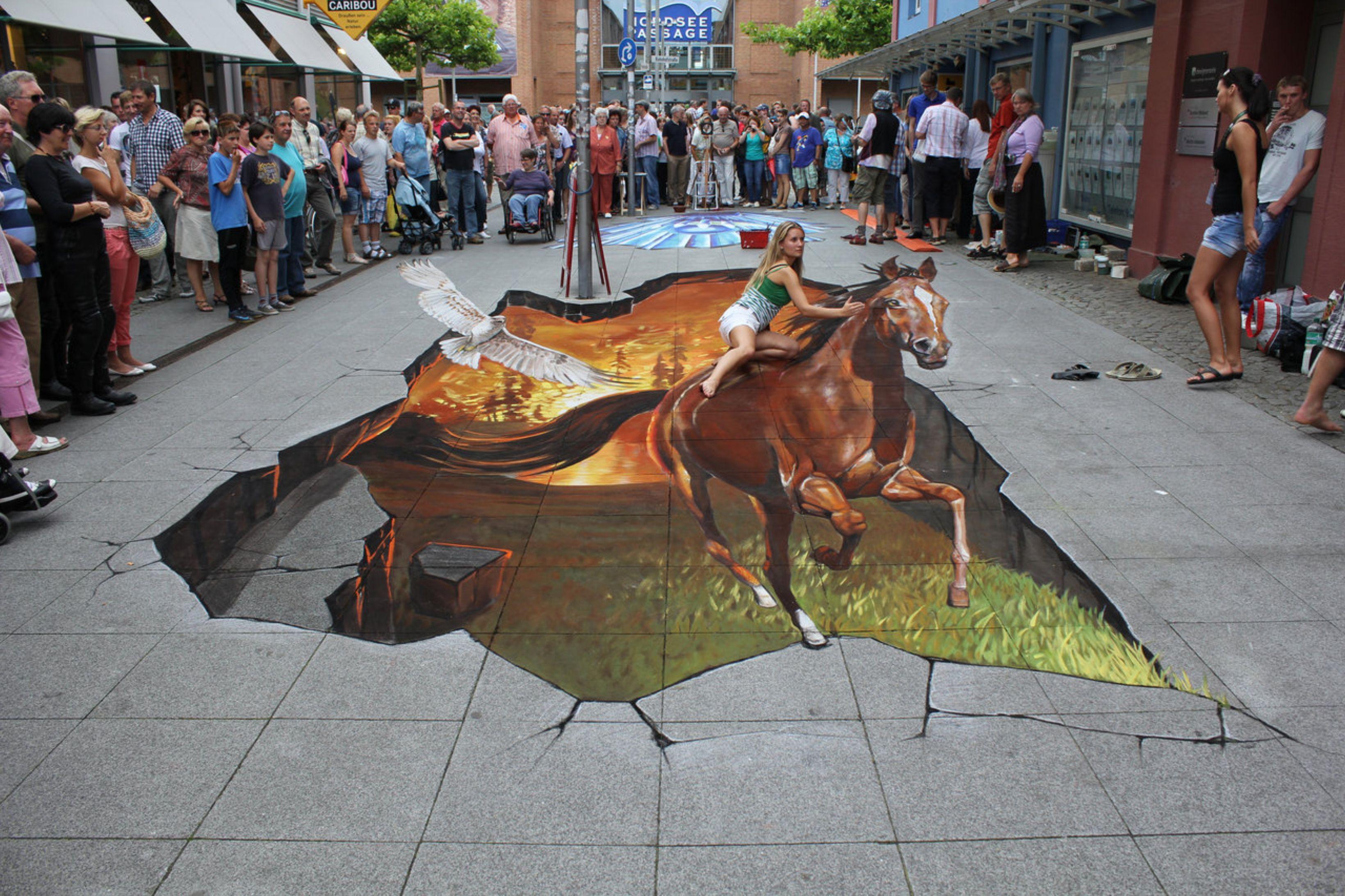 Ảnh bức tranh 3D đường phố đánh lừa thị giác đẹp