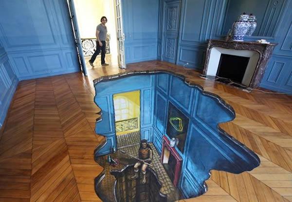 Bức ảnh sàn nhà 3D đánh lừa thị giác cực đẹp
