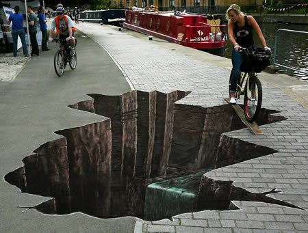 Bức tranh đường phố 3D đánh lừa thị giác cực đẹp
