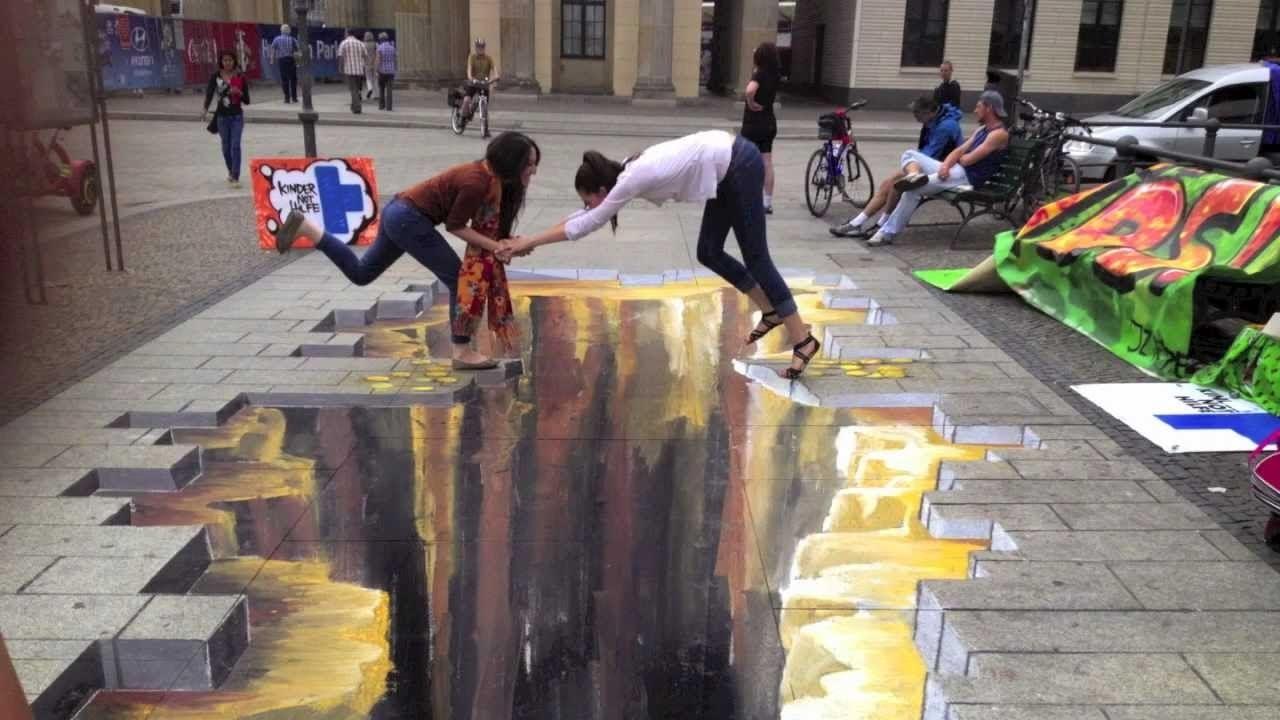 Tranh 3D đường phố đánh lừa thị giác đẹp