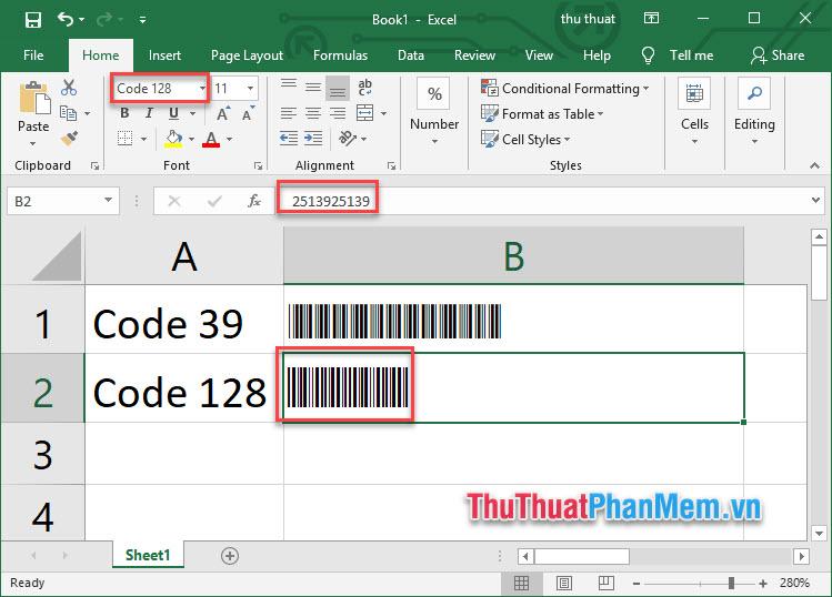 Tạo mã vạch trong Excel - 1