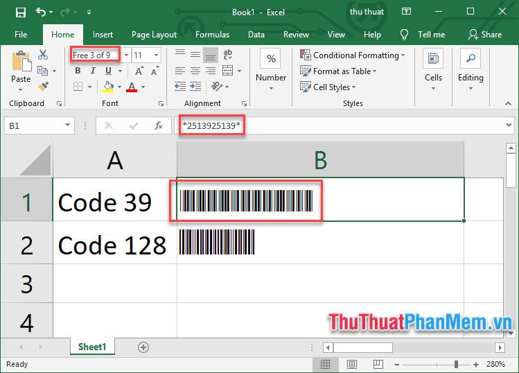 Tạo mã vạch trong Excel - 2