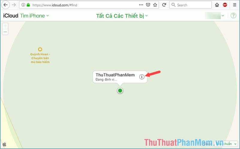 Click vào biểu tượng chữ (i) để mở giao diện chi tiết