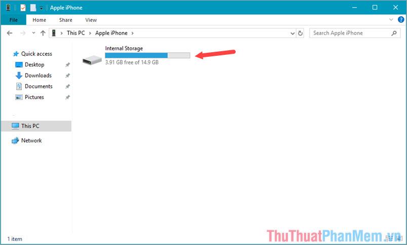 Click vào ổ đĩa Internal Storage