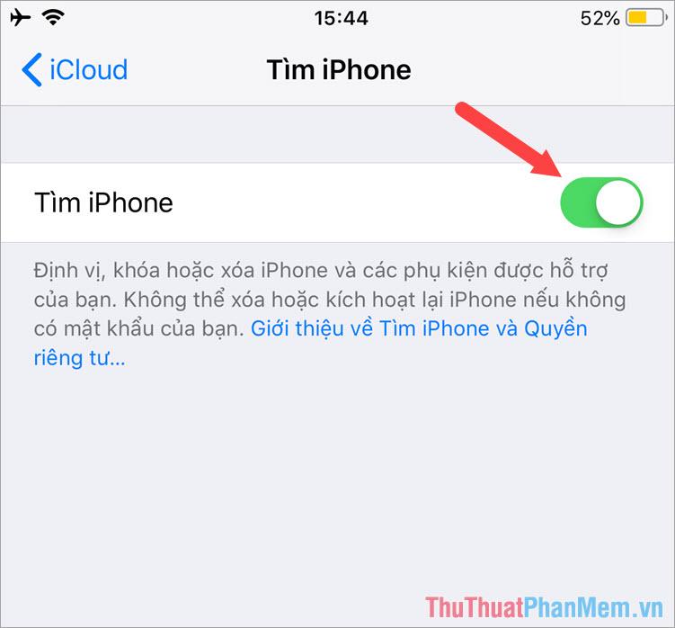 Gạt công tắc Tìm iPhone sang Bật