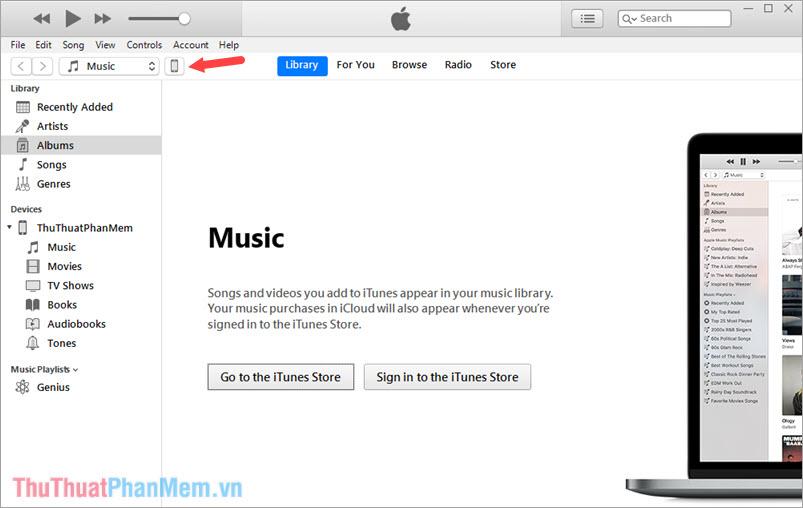 Mở ứng dụng iTunes trên máy tính và click chọn biểu tượng điện thoại